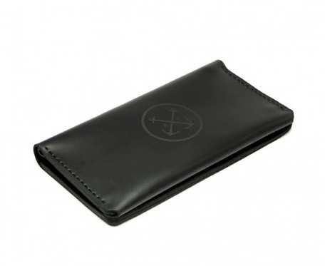 Czarny skórzany ręcznie robiony portfel od Luniko