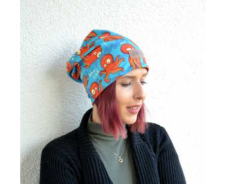 Kolorowa czapka beanie uniwersalna ośmiorniczka
