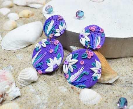 Oryginalne fioletowe kolczyki kółka - podwójne