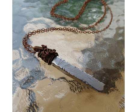 Naszyjnik sopel ze stalowym agatem titanum