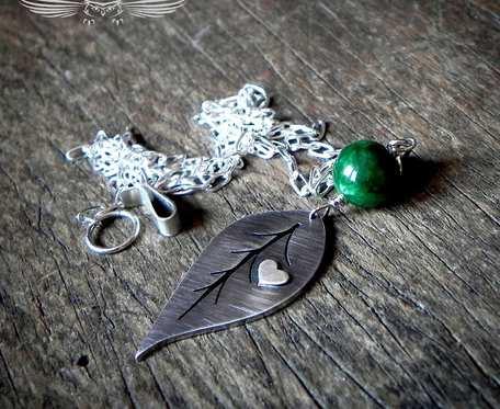 Srebrny naszyjnik z jadeitem