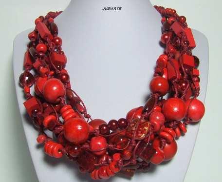 Czerwone korale, pleciony naszyjnik