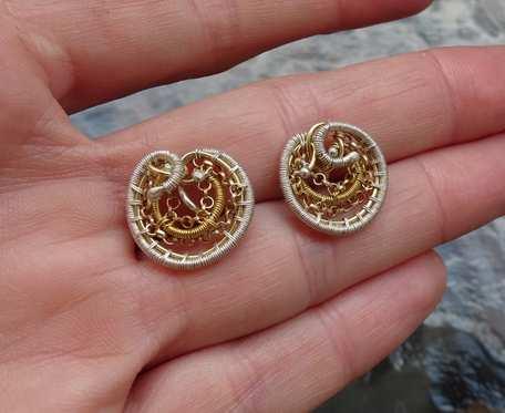 Srebrne kolczyki wkrętki koła: złoto-srebro