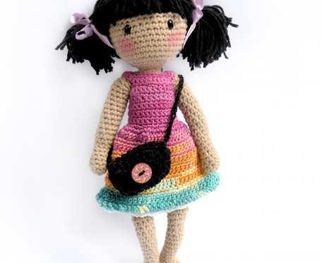 Amigurumi lalka ze zginającymi się rękami i nogami -  lalka z kucykami - zginająca się lalka