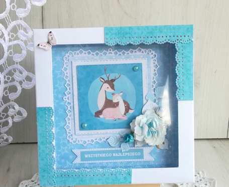 Kartka urodzinowa z jelonkiem niebieska GOTOWA