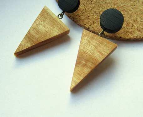 Drewniane kolczyki KÓŁKO i TRÓJKĄT