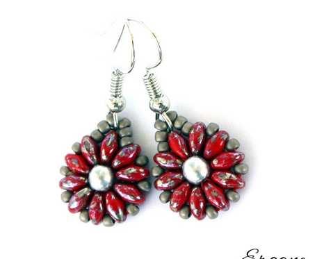 Kolczyki czerwono-szaro-srebrne kwiatki