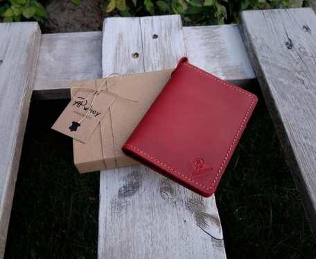 Mini portfel męski, skórzane etui na karty, czerwony