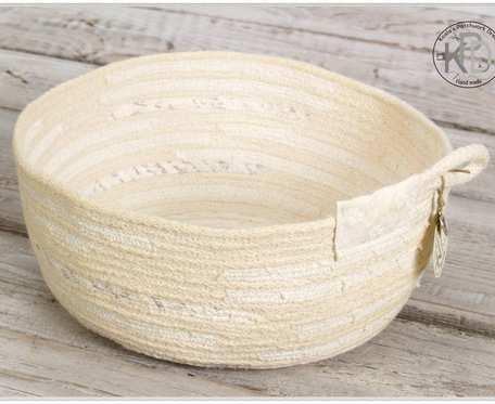 Koszyczek Kremowy z bawełnianego sznurka