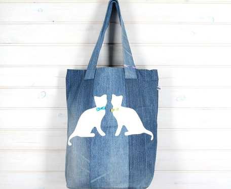 Wegańska torba na ramię dżinsowa koty