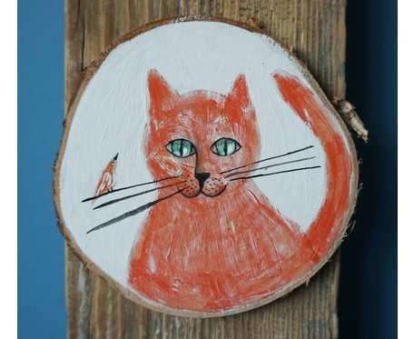 Obrazek z kotem, akryl na drewnie
