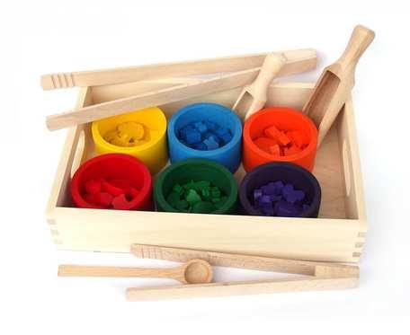Sorter kolorów drewniany, Montessori, pomoce sensoryczne