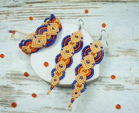 Komplet biżuterii z koralików - kobalt i pomarańcz