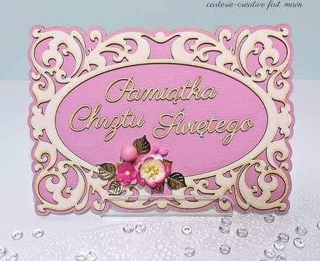KARTKA RAMKA PAMIĄTKA chrztu św. dla dziewczynki personalizowane