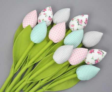 Tulipany bawełniane, szyte różowo - miętowe