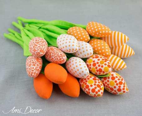 Tulipany bawełniane, szyte pomarańczowe