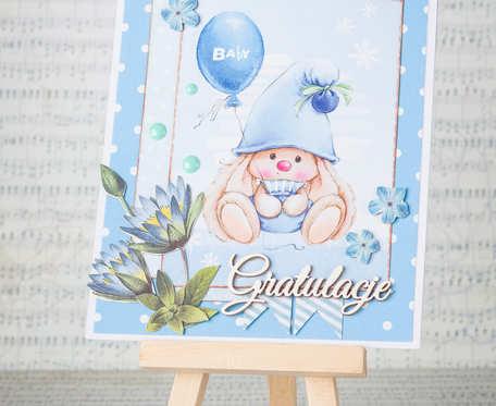 Kartka gratulacyjna z okazji narodzin chłopca