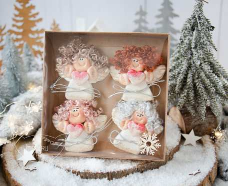 Paczuszka uroczych aniołków na zawieszce, w pudełeczku. Prezent na Boże Narodzenie (s06)