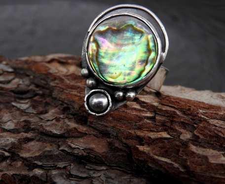 Pierścionek srebrny z muszlą Paua i perłą