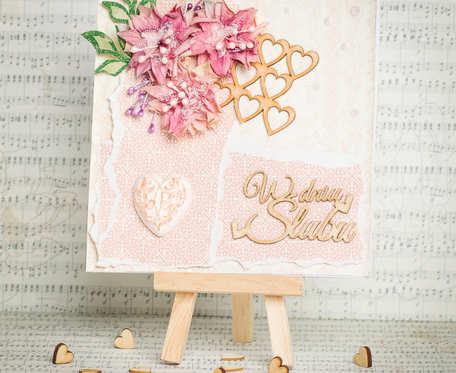 Kartka ślubna z ręcznie wykonanymi kwiatami