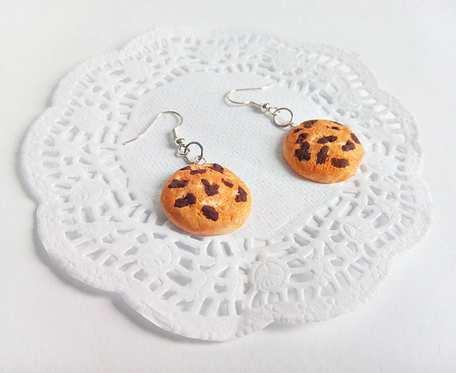 Kolczyki - ciasteczka z kawałkami czekolady