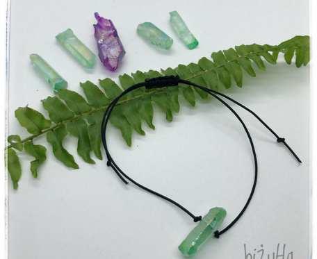 Sznurkowa bransoletka z zielonym kwarcem aura