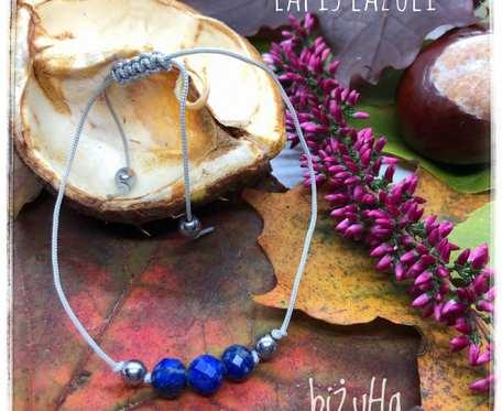 Minimalistyczna bransoletka na sznurku z kamieniem lapis lazuli
