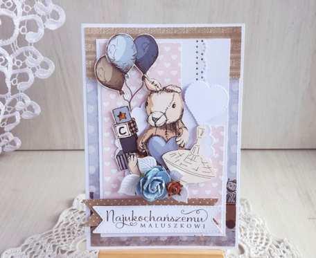 Kartka Vintage BOY urodziny króliczek GOTOWA