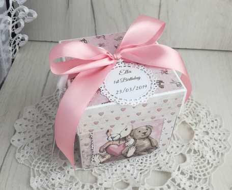 Exploding box z króliczkiem w stylu Vintage, na chrzest, roczek, urodziny, narodziny