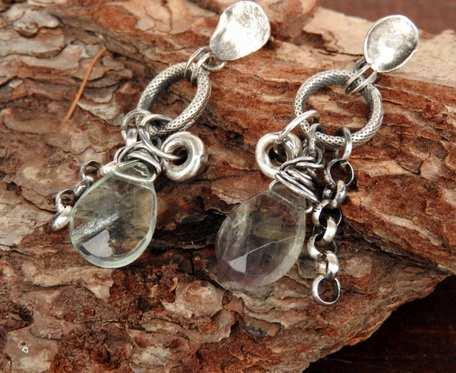 Kolczyki srebrne z fluorytem długie