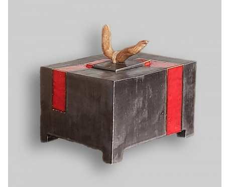 Pojemnik ceramiczny, metaliczny brąz/czerwień