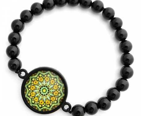 Bransoletka z kamienia czarnego onyksu czakra amulet etno MANDALA PAMIĘCI boho orientalna Bransoletka z intencją NA PREZENT