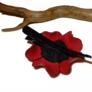 Wiśniowa spinka do włosów – skóra naturalna