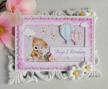 Kartka z misiem i balonami różowa