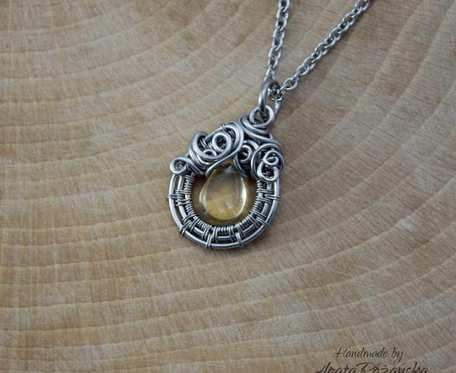 Wisiorek cytryn, wire wrapping, stal chirurgiczna