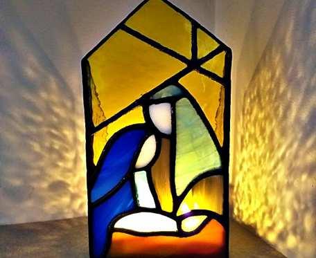 Lampion Święta Rodzina , stajenka , witraż
