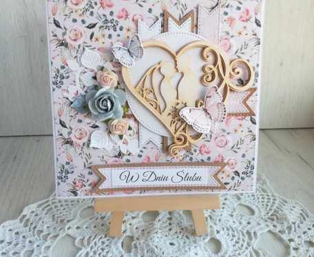 Kartka ślubna 3D z Parą Młodą, na ślub
