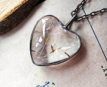 Naszyjnik serce z dmuchawcem