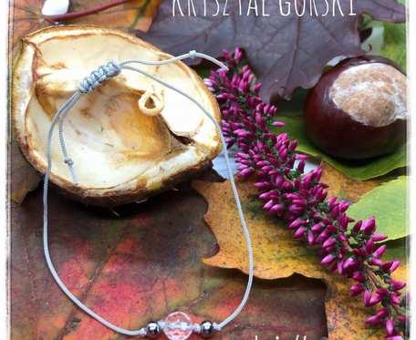 Minimalistyczna bransoletka na sznurku z kryształem górskim