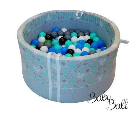 Suchy basen BabyBall z piłeczkami dla dzieci (200 szt) - miętowe serduszka