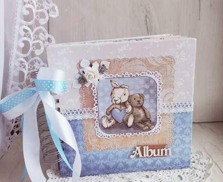 Album Vintage na chrzest dla chłopca, roczek, narodziny, ręcznie robiony.