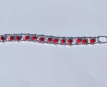 Bransoletka wire wrapping - czerwone koraliki - wzór IX