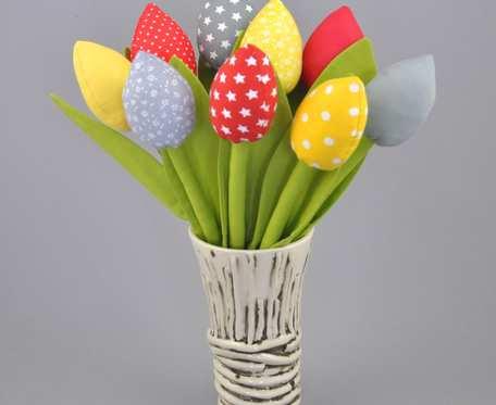Tulipany z materiału, szyte hand made