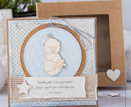 Kartka z okazji narodzin dziecka, personalizowana treść.