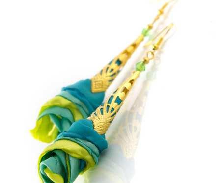 Kolczyki materiałowe Silk morskie limonkowe