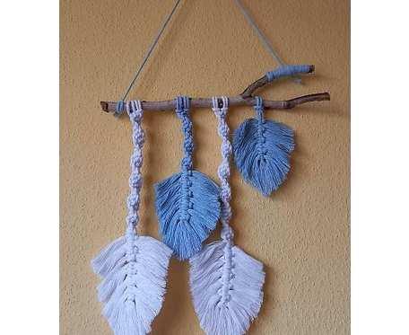 Makrama - niebieskie liście