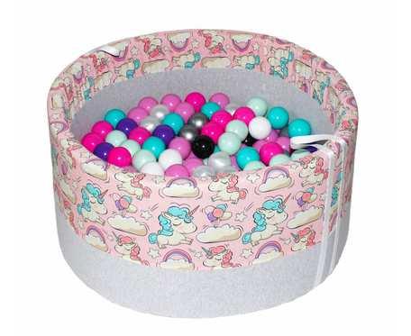 Suchy basen BabyBall z piłeczkami (250 szt) - jednorożce na różowym  tle - grube dno - prezent na Roczek