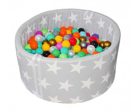Suchy basen BabyBall z piłeczkami (200 szt) - grube dno 4 cm - Joy in the stars