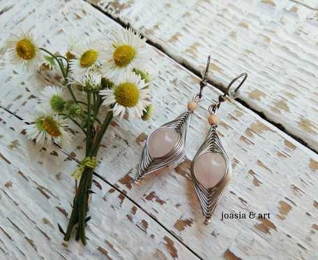 opleciono na srebrno, jadeit różowy