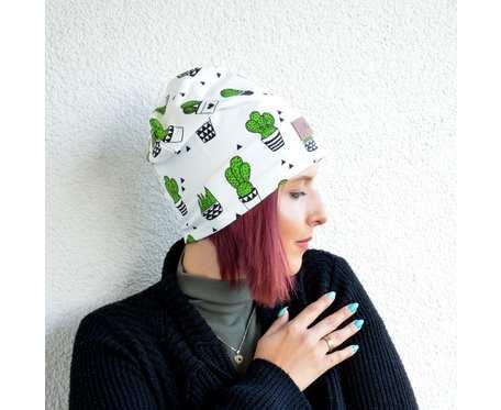 Kolorowa czapka beanie uniwersalna kaktus